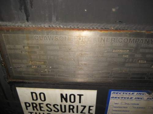 Clawson Container. Tote.