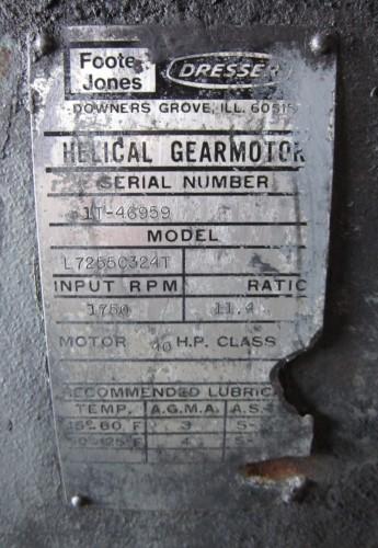 40 hp Foote Jones Dresser Helical Gear Reducer