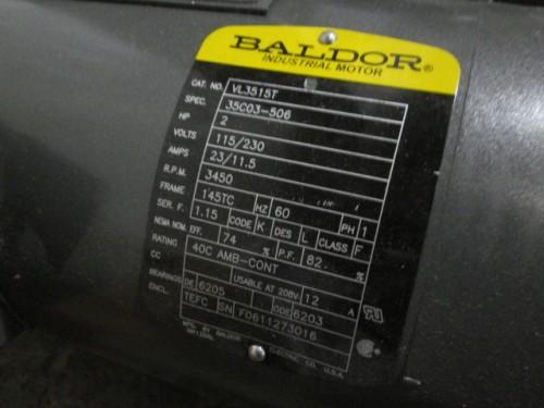 2 hp baldor electric motor new single phase 3450 rpm for Baldor 1 5 hp single phase motor