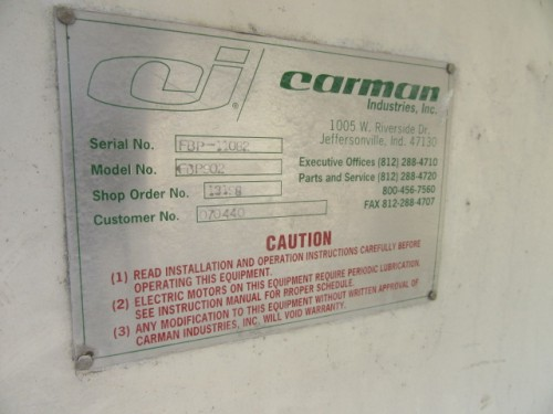 Carman Fluid Bed Dryer