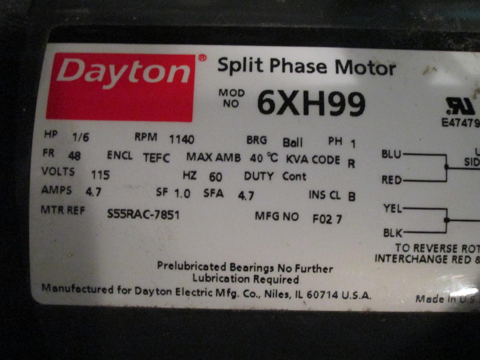1 6 Hp Dayton Electric Motor 1140 Rpm Single Phase