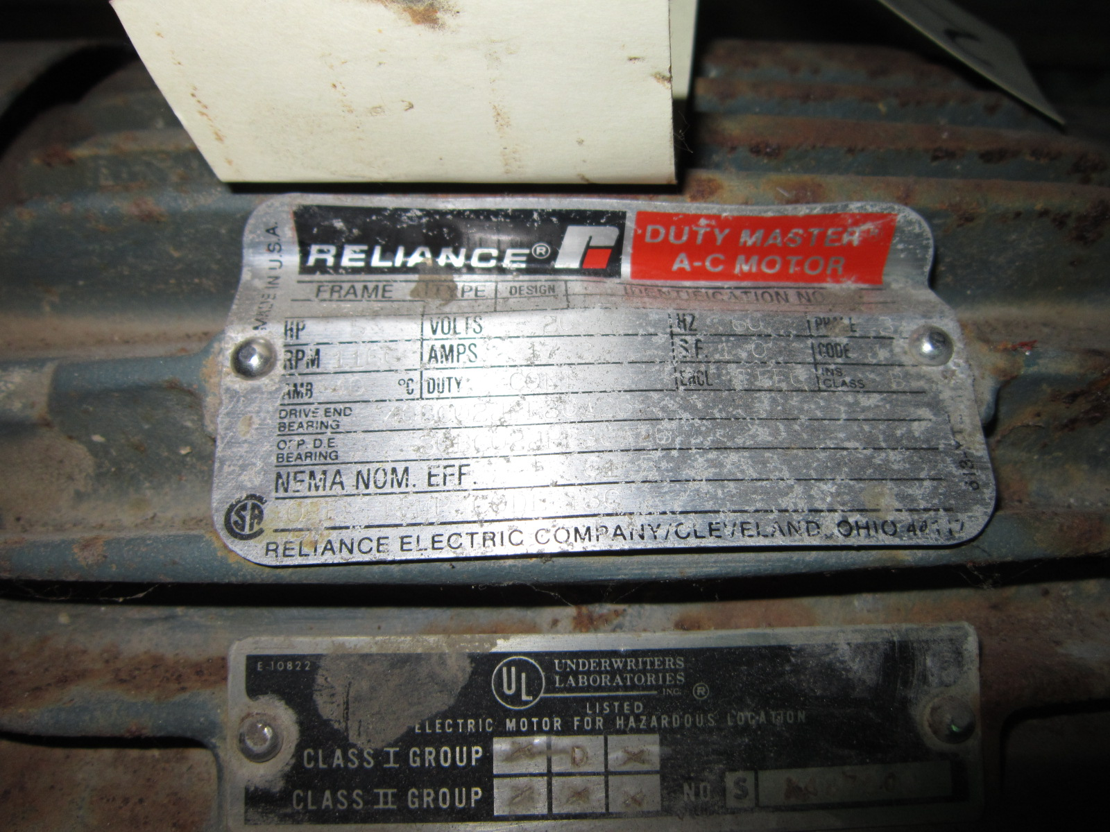 Reliance 5hp, 1160rpm, 208V, 7.2Amps, 3phase/60Hz, Cont. Duty, TEFC Motor