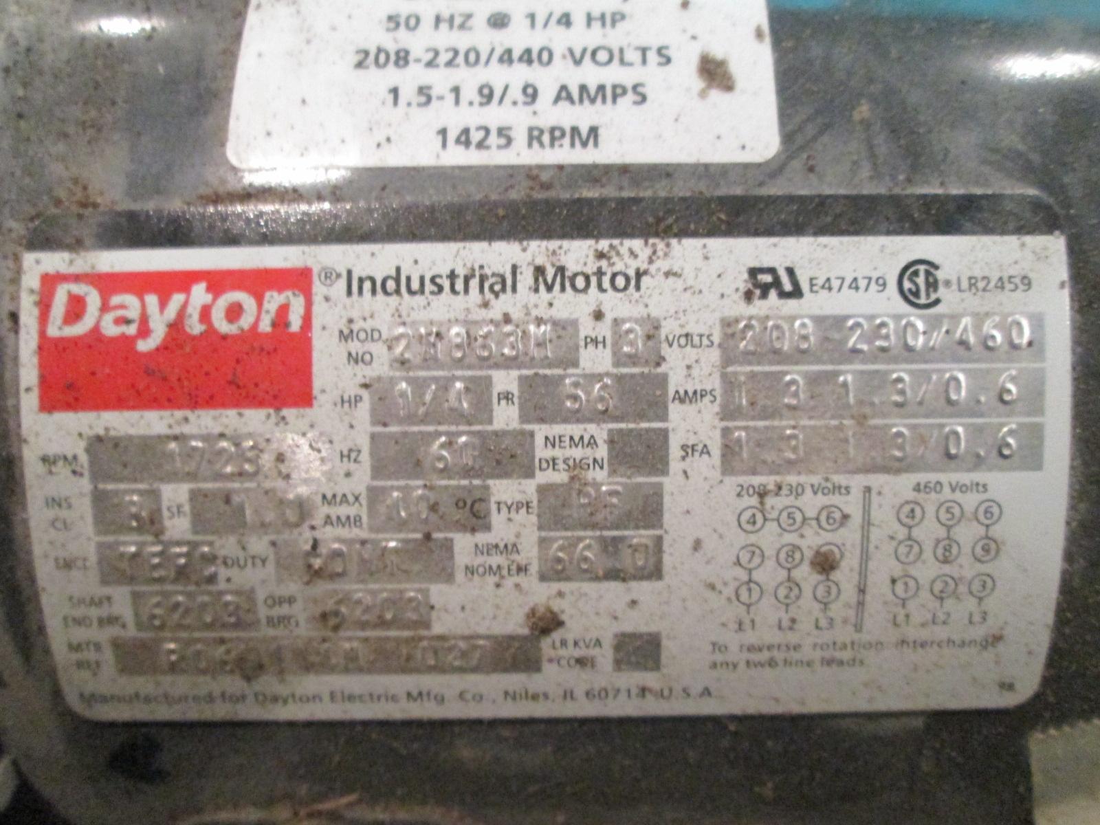 1 4 Hp Dayton Electric Motor 1725 Rpm Tefc