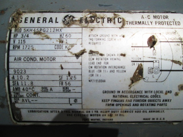 3  4 Hp General Electric Thermally Protected Electric Motor