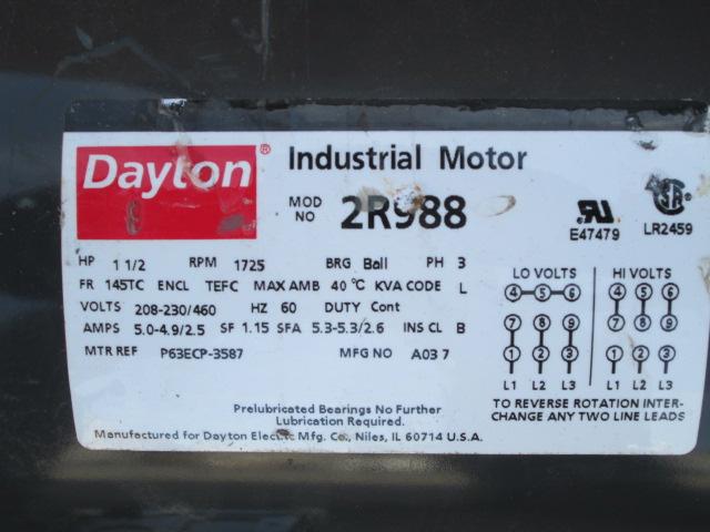 1 5 Hp Dayton Industrial Electric Motor 1725 Rpm