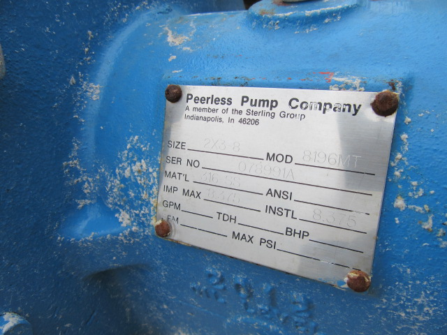 Peerless Centrifugal Pump, Size 2 x 3 x 8  stainless steel