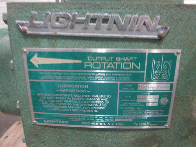 One(1) used 3 hp Lightnin Mixer, 84 rpm output, right angle
